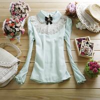 Free shipping women's peter pan collar lace chiffon shirt fashion slim all-match straight long-sleeve top basic shirt
