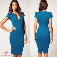 2014 Elegant Ladies' V-Neck Dress Fashion Celebrity Pencil Dress Women Work Slim Knee-Length Pocket Party Bodycon Dress S M L