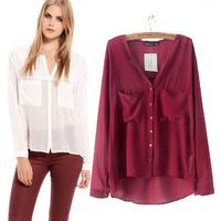 Free shipping New 2014 long sleeve women blouses womens tops fashion 2014 spring and summer chiffon shirt women Blouses & Shirts