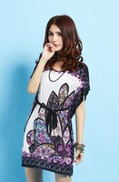 Fashion 2014 summer casual dress Loose Batwing Sleeve O-neck Dress novelty printed dress Vestidos LYQ1527