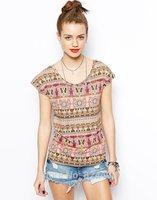 Indian Style Women T-Shirt / T Shirt / TShirt / Tops Tees Tribal Print Summer Clothing Cloth For Female Fashion Casual New 2014