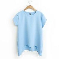 Fashion Women Zara2014 Summer Tops Tees / White And Sky Blue O-Neck Short Sleeve T Shirt / Blusas Femininas Tee shirt