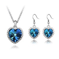 "Classic"" Titanic"" The Heart of Ocean Crystal Jewelry for Women Silver Earrings Women Crystal Jewelry Sets Lovers Necklace ML-426"