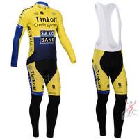 New 2014 Tinkoff Saxo Bank Winter Thermal Cycling Jersey / Thermal Cycling Bib Tights / Winter Cycling Clothing Free Shipping