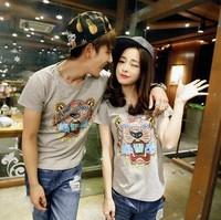 2014 Summer New! The Tiger Head Printing Sweethearts T-Shirt,  Lovers T-Shirts