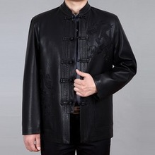 TUML14047,2014 Spring and autumn period sheep leather have dragon pattern  plus-size jacket,size M-4XL,free shipping(China (Mainland))