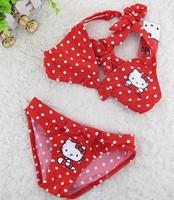 Free shipping New 2014 Children Swimwear Hello  Kitty Swimwear Baby Girls Bikini Swimsuit Lovely Polka Dot design
