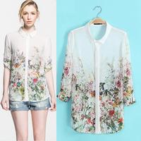 HOt sale New 2014 spring and summer floral print women blouses elegant chiffon shirt women tops fashion 2014 Blouses & Shirts
