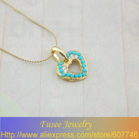 IGZ01398-1 Classic 18K Gold Plated Turquoise/pearl heart pendant 2pcs/lot
