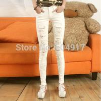2014 Autumn Women Jeans Casual Wearing White Retro Hole Butt-lifting Denim Jeans Roll up Cross Haren Pants Applique Plus Size