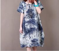 New 2014 Freeshipping Summer Rushed  Natural Broadcloth Mid-calf Asymmetrical O-neck Short  Loose Cotton Printing Ink Dress