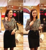 2014 Spring Summer Hitz striped V-neck Waist Dress Long Sleeve Ladies Dress Stitching OL Career.