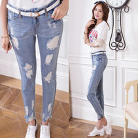 2014 100% Cotton Jeans No stretch Thin Slim Hole Personality Frazzle Irregular trousers Boyfriend jeans ripped 923