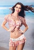 Hot 2014 latest design women steel prop bikinis set swimsuit swimwear three-piece sun shirt