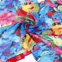 Oumeina Women's silk square scarf China origin new design elegant silk scarf flower printed  52cmx52cm  LJD-S058