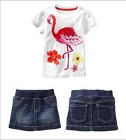 New 2014 baby & kids Summer Casual Girls Firebird  Short-sleeved T-shirt+ Denim Skirt 2pcs Sets Free Shipping