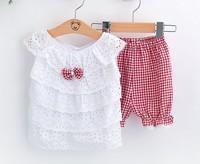 New 2014 Summer Hot Selling 100% Cotton Baby Girls Clothing Set 2pcs:shirt+pant Princess Summer Clothes