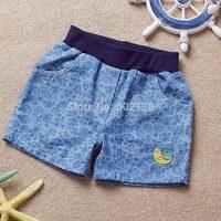 Free shipping 2014 Summer new girls denim shorts elastic waist harem children pants cartoon moon casual short pants c3-468