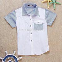 Free shipping 2014 summer new children's cotton undershirt big virgin boy lapel short-sleeved plaid sky blue shirt c3-540