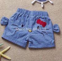 Free shipping New summer cotton shorts Korean children girls bow harem short casual jeans pants hello-kitty cat printing c3-456