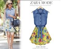2014 New Sleeveless Fashion Summer Women Chiffon Dress Super Quality Stitching Slim Denim Vest Print Dresses Free Shipping S393