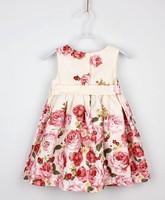Clearance! 2013 Spain Designer 100% Cotton Summer Rose Kids Dress Girl Dress Princess Dress Retail And Drop Shopping