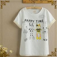 New Rushed Freeshipping None Regular Print Fashion Linen 2014 Summer Cute Bear Cartoon Printed Cotton Short-sleeved T-shirt 1209
