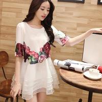New Direct Selling O-neck Chiffon Regular None Print Sleeveless Brief A-line 2014 Fashion Shipping Women's Summer Dress 1476