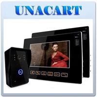 """9"""" Color Video Doorphone IR Camera Intercom System Doorbell Door Bell Touch Key with 2 Monitors"""
