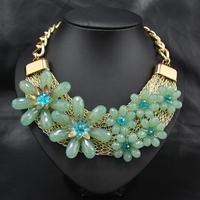 Wholesale Jewelry Fashion Vintage Women Costume Collar Dress Up Jewelry Party Flower Acrylic Choker Pendant statement necklace