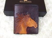 Hong Kong OLG. YAT zodiac Horse handmade carving leather wallet 2014 New design Men's  brief  paragraph (vertical)purse/ wallet