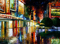 100% Hand-painted Quality Palette Knife canvas recreation oil painting -MOVIE THEATRE