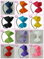Free Shipping 30 Pcs/lot Solid Bow Hair Band,Ribbon Bow With Teeth Band,Girls Hair Bow Hairband  CNHBD-1405231