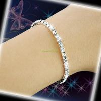 ES0438 Bridal Wedding 1 Row Crystal Rhinestone Bangle Bracelet