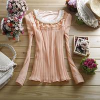 2014 summer women's ol pearl o-neck orgnan lace chiffon shirt pleated long-sleeve shirt