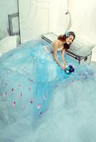 Hot 2014 new women wedding dress blue dress free shipping