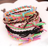 Han edition fashion hand-woven braided hair rope (12) the elastic hair bands (random color)#09091077