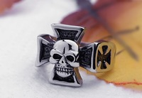 New European and American style personality unique skeleton ring Titanium steel armor Domineering generous man ring gift jewelry