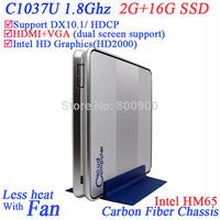Industrial mini pc vesa mountable computers with intel Celeron C1037U 1.8Ghz CPU HM65 Chipset 2G RAM 16G SSD Windows or Linux