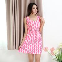 2014  female dress tank dress pink color  honey women flower dress fashion free shipping