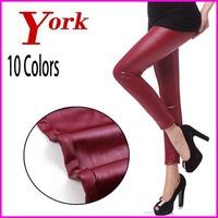 LIVAGIRL 2014 new design candy woman pants leggin skinny fitness imitation leather leggings Sexy thin trousers leg