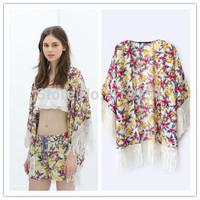 2014  Free Shipping Women's   Tassles Decorate Chrysanthemum  Pattern  Loose  kimono   Jacket Coat Ladies Spring Autumn Tops
