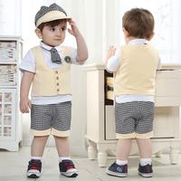 Free shipping -4sets/lot-5pcs baby clothing suits-Boys lapel short-sleeved T-shirt + Vest + pants + hat + plaid tie -baby suit