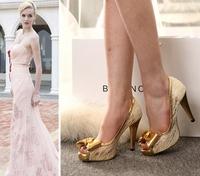 2014 New Fashion peep toe bowtie sweet women pumps platform high heels big sizes ladies sexy dress party prom wedding shoes