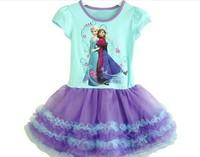 Girl Clothes Frozen Elsa&Anna Dress  2014 New Children's Clothing Cotton Summer Dresses For Girls