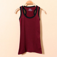 Summer 2014 New Cotton Arbitrary Striped Elasticity Women Tank Top Color Red