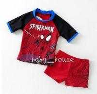 2 pcs baby Boys Swimwear kid boys swimsuit bathing suit + trunks cool spider