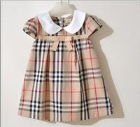 2-6yrs Baby Girls Dresses dress Fashion summer 2014 New short-sleeved Baby girls brand Plaid Dress 100% cotton Free shipping Y20