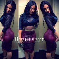 Hot New Style 2 Piece Bandage Bodycon Dress Celebrity Dresses Sexy Club dress       JH-DR-392