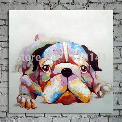 Umweltfreundliche 100% handbemalte abstrakte schönen hund tier Ölbild auf leinwand für heimtextilien
